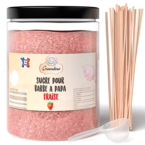 Greendoso-Zuckerwatte Zucker, Aromazucker 1 kg Erdbeere für Zuckerwattemaschine + 50 Stäbchen (30 cm) + 1...