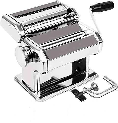 Nudelmaschine Edelstahl Pasta Maker 3 in 1, (8 Dickeneinstellungen) Manuell Pastamaschine Nudel Maschine für...