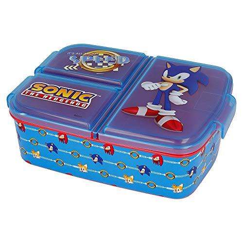 Sonic Kinder Brotdose mit 3 Fächern, Sonic the Hedgehog Lunchbox,Bento Brotbox für Kinder - ideal für...
