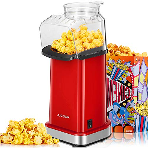 Popcornmaschine für Zuhause1400W, Aicook™ Retro Popcorn Maker Machine, Weit-Kaliber-Design inkl....