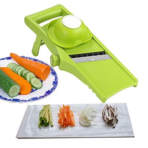 Voarge Manuelle Essen Slicer, Gemüsehobel 3 in 1 Gemüseschneider Profi Gemüsereibe Kartoffelschneider,...