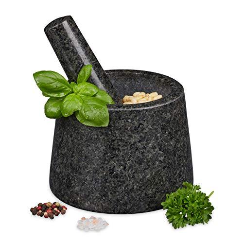 Relaxdays Mörser mit Stößel, Granit, poliert, langlebig, für Gewürze und Kräuter, Steinmörser D: 13,5...