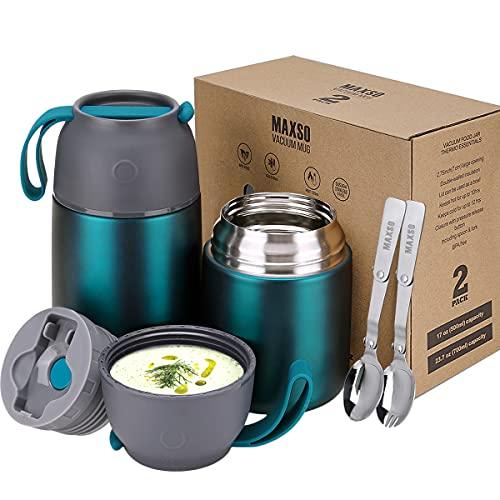 Thermobehälter für Essen 500ml & 700ml Edelstahl Warmhaltebebehälter mit faltbaren Löffel, Speißen,...