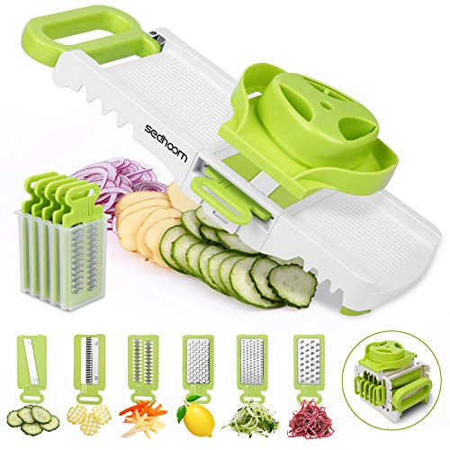 Sedhoom 6 in 1 Gemüsehobel verstellbar, Mandoline Gemüsereibe mit 6 Klingen, multifunktionaler...