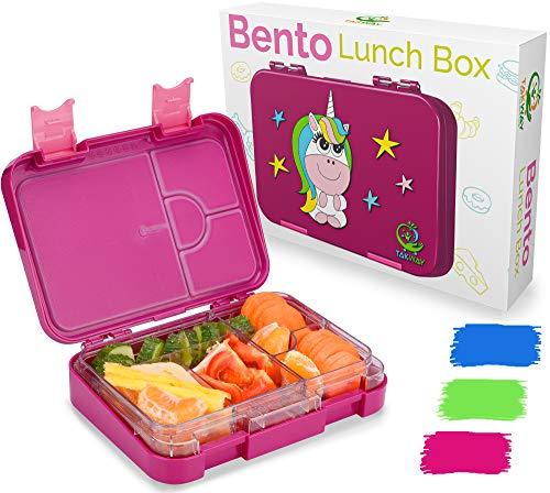 TAKWAY Kinder Bento Box mit Fächern Einhorn lila   Robuste Brotbox mit Unterteilung variabel 4 oder 6 Fächer...