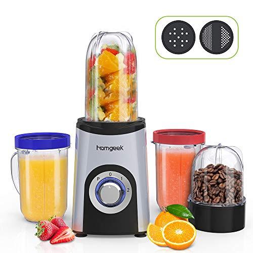 homgeek Mixer Smoothie Maker mit 2 Stufe, Mini Standmixer mit 1x 500ml, 2x 400ml und 1x 200ml BPA-frei Mix...