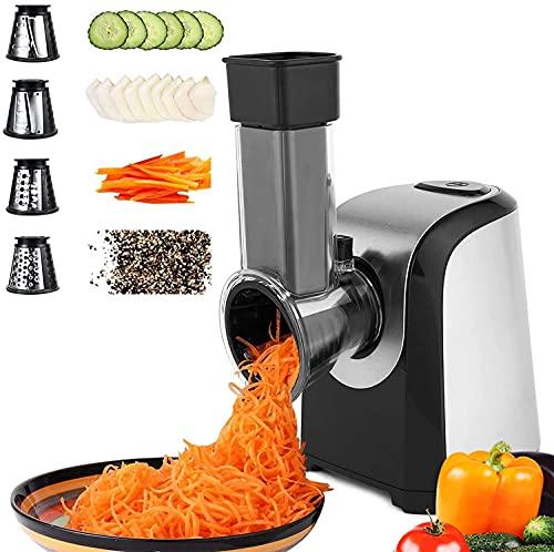 Automatisch Elektrisch Gemüsehobel Gemüseschneider, Elektrische Küchenreibe Reibe mit 5 Kegel-Klingen 150W...