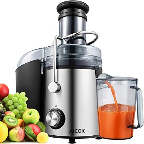 AICOK Entsafter Gemüse und Obst, 800W Zentrifugaler Entsafter große 75mm Einfüllöffnung, Entsafter mit...