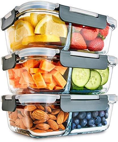 2-Fach Meal Prep Container aus Glas mit Transparentem deckel – Luftdicht Verschließbare Frischhaltedosen,...