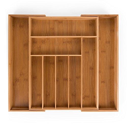 Blumtal Besteckkasten Schublade aus Bambus - größenverstellbarer Schubladen-Einsatz, bis zu 9 Fächer (Groß...