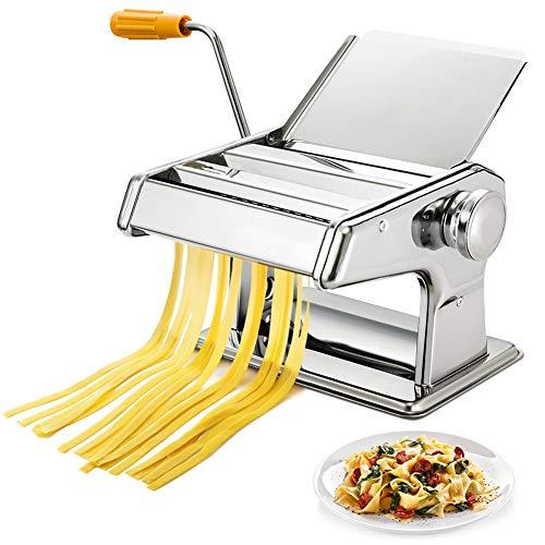 Greensen Nudelmaschine Pasta Maker Edelstahl Manuell Pasta Walze Maschine Cutter Hand Crank Noodle Maker,...