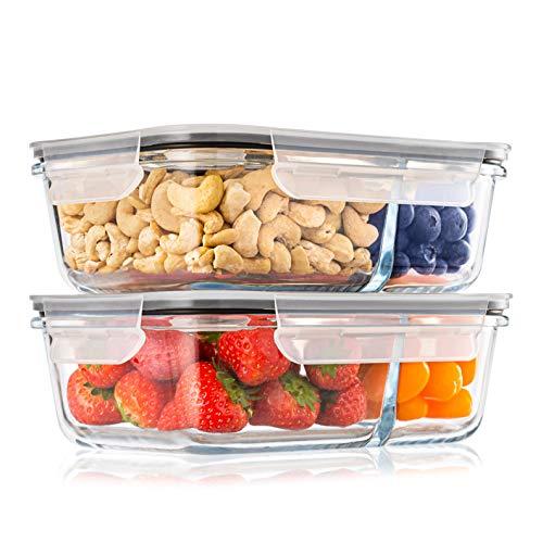 2-er Set Frischhaltedosen Glas Aufbewahrungsbox Auslaufsicher Lunchbox, 2 Luftdichte Fächer, Größe XL 1040...