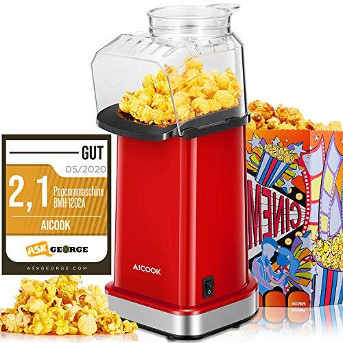 Popcornmaschine 1400W, Aicook™ Automatische Popcorn Maker Machine für Zuhause, Weit-Kaliber-Design inkl....