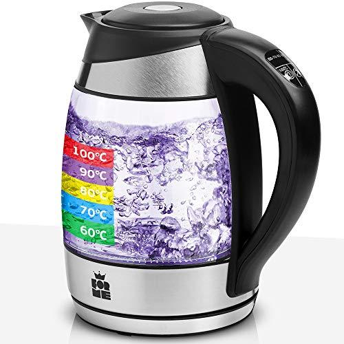 ForMe Glas Wasserkocher 1.8 mit Temperatureinstellung Temperaturwahl 60-100°C Farbwechsel LED Temperatur...