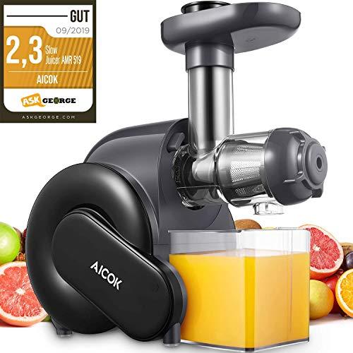 Entsafter Gemüse und Obst, Aicok Slow Juicer mit Rücklauffunktion, Anti-Oxidation Juicer Extractor mit...