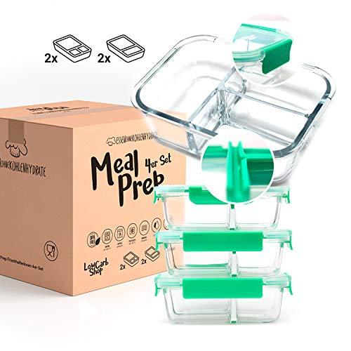 EOK Meal Prep Frischhaltedosen Boxen aus Glas mit dichten getrennten Kammern (4er Set je 1040ml) - Dichte...