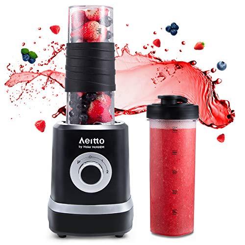 Smoothie Maker Mixer, Aeitto Mini Mixer Blender 500W, Mini Standmixer mit 2 X 520ml Reise Sport Flaschen...