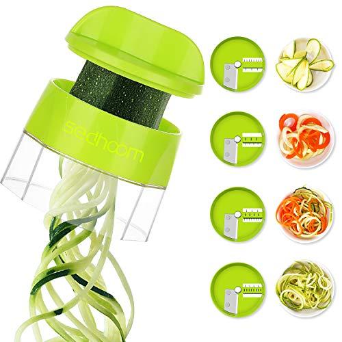 Sedhoom Spiralschneider Hand für Gemüsespaghetti, 4 in 1 Kingen Gemüse Spiralschneider, Gemüsenudeln...
