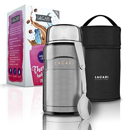 LACARI® Kitchen & More Premium Thermobehälter Silber – [700ml] Thermobehälter für Essen –...