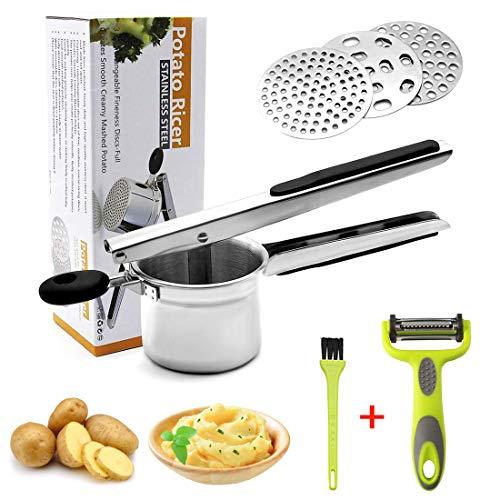 HOTLIKE Kartoffelpresse aus Edelstahl, Spätzlepresse 6 PCS Set, Professionelle Spätzlechef mit 3...