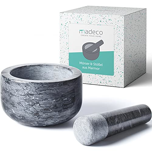madeco - Edler Marmor Mörser mit Stößel Ø 14 cm - Perfekt geeignet für Gewürze, Kräuter & Nüsse -...