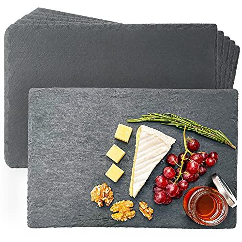 Schieferplatten 6er Set - Ideal zum Servieren 30x20 cm - Wiederverwendbares Servierplatten Platzset