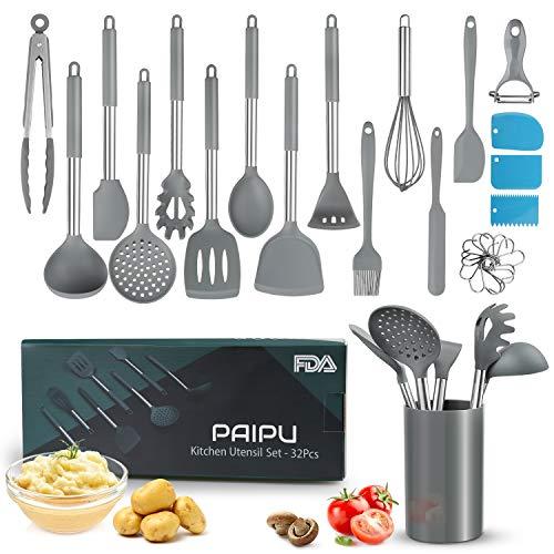 PAIPU Küchenhelfer Set, 32 Stück hitzebeständige Antihaft-Küchenutensilien, Nudelschaber-Set, 3...