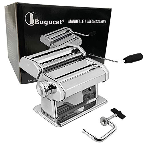 Bugucat Nudelmaschine Pasta Maker, Edelstahl Frische Manuell Pasta Walze Maschine Cutter mit Klemme für...
