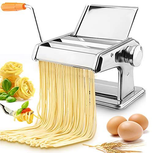 Nudelmaschine aus Edelstahl, Manuelle Nudelmaschine mit 2 verschiedenen Nudelwalzen Hausgemachte Pastamaschine...