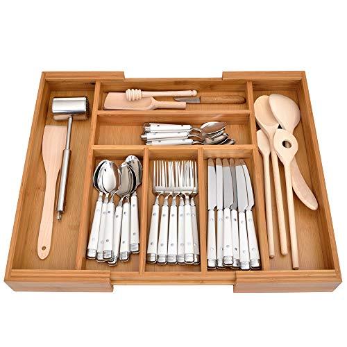 GRÄWE Schubladeneinsatz aus Bambus, Besteckkasten für Küchen-Schubladen, Holzoptik, 5-7 Fächer, variabel...