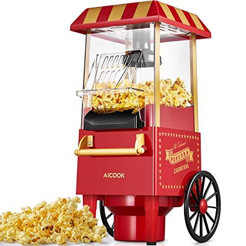 Popcornmaschine Retro, Aicook™ 1200W für Zuhause Popcorn Maschine Maker mit Heissluft, Popcorn Machine ohne...