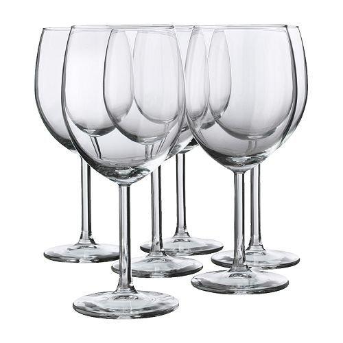 IKEA 6-er Set Rotweinglas 'SVALKA' Gläserset mit sechs Rotweingläsern - mit 30cl Inhalt - 18cm hoch -...