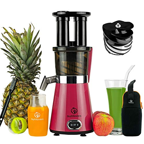 Nutrilovers Slow Juicer Obst & Gemüse   BPA-Frei - Entsafter mit Slow Juice Glastrinkflasche,...