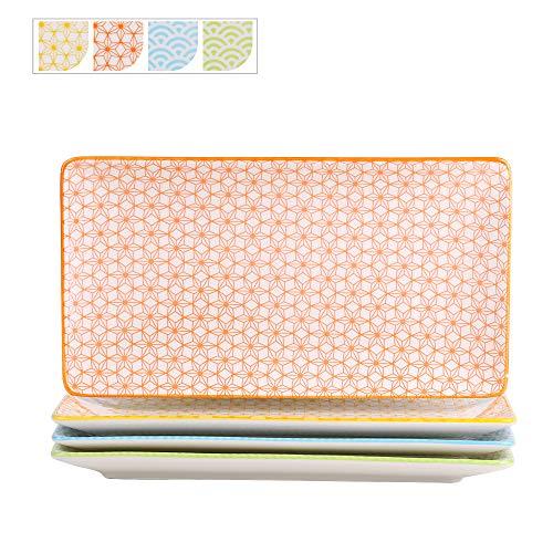 Vancasso Servierplatten Porzellan, Natsuki 4 teilig rechteckige Teller Set aus Porzellan, Servierplatte...