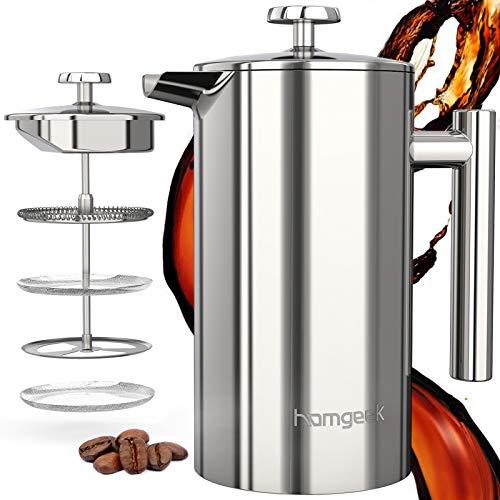 homgeek French Press Kaffeebereiter 304 Edelstahl, Kaffeebereiter Doppelwandig Isoliert 1 Liter (8 Tassen),...