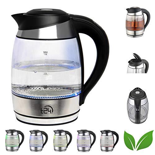 T24 Glas Wasserkocher 1,8 L Temperaturwahl 60-100°C mit Teesieb 2200 Watt, Borosilikatglas Teekocher mit...