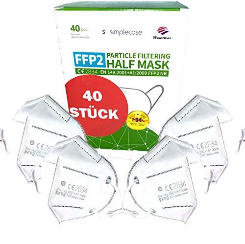 SIMPLECASE FFP2 Maske, Atemschutzmaske, Partikelfiltermaske, EU CE Zertifiziert von Offiziell benannter Stelle...