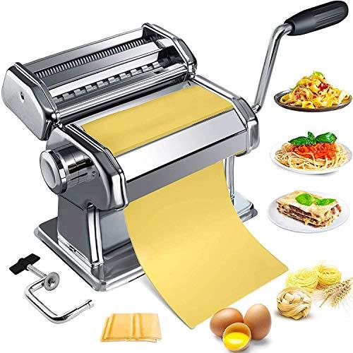 Nudelmaschine,Pasta Maker Hausgemachter Pasta Manueller Edelstahl Pastamaschine Robuster Pasta Cutter mit...