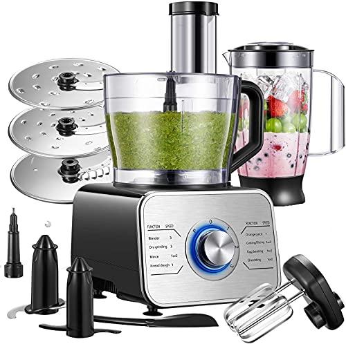 Küchenmaschine Multifunktional, 1100W Food Processor mit 3 Geschwindigkeiten include Elektrischer...