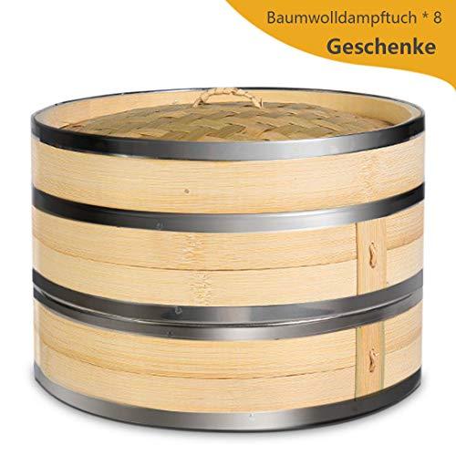 KYONANO Dampfgarer Bambus, 2 Etagen Bambusdämpfer 24cm mit Deckel + 2 Baumwolltücher, Bambus Dampfkorb...