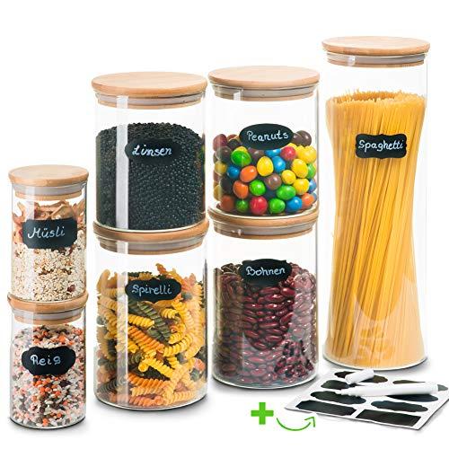 Greeano® Vorratsgläser mit Deckel 7 teilig | Füllmenge 5.9L | Vorratsdosen Glas Set | Mottensicher |...