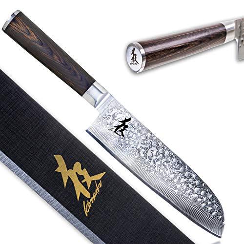 Kirosaku Premium Santoku Messer 18cm - Enorm scharfes Santoku Kochmesser aus hochwertigen Damaszener Stahl -...