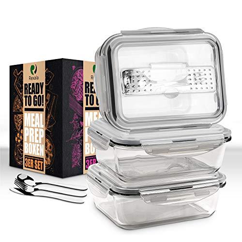 REXALA ® Meal Prep Boxen – [3X] Essensbox mit [3X] Mini Besteckset – [1050ml] Mealprepdosen – inklusive...