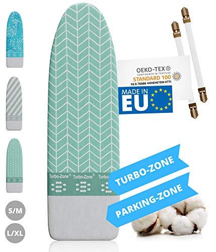 Innovativer Bügelbrettbezug für Dampfbügeleisen I Made IN EU I Bügeltischbezug mit Turbo Zone, Parking...