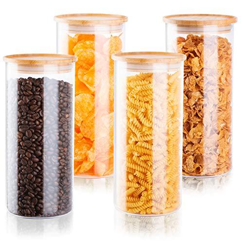Falkenbach Vorratsgläser Set 4X Größe L je 1,5 Liter Vorratsdosen aus Glas mit Bambusdeckel...