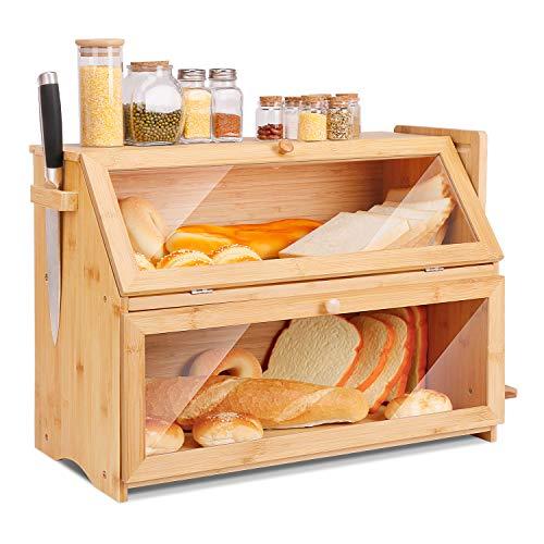 Leader Accessories Brotkasten Bambus Brotbehälter mit Brotschneidebrett lebensmittelecht Brotaufbewahrung...