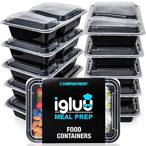 [10er Pack] 2-Fach Meal Prep Container Von Igluu - Essensbox, Lunchbox Mikrowellengeeignet, Spülmaschinenfest...