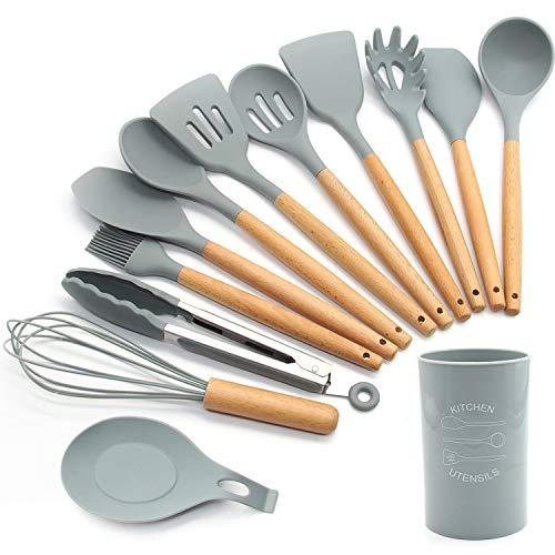 FXY Kochbesteck 13er Küchenutensilien silikon, Antihaftes Hitzebeständiges Küchenhelfer Set mit Holzgriff,...