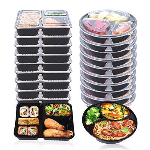 OITUGG 3 Fach Mahlzeit Vorbereitung Behälter mit Deckel, stapelbar, Spülmaschinenfest und...