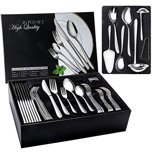 Elegant Life Besteckset 48Pcs, Edelstahl Essbesteck Set Service für 8 Personen mit Geschenkbox, Steak Messer,...